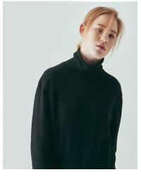 W Concept - Green Cashmere Turtleneck Sweater Black - Lyst