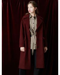 W Concept | Red Wide Collar Long Coat | Lyst