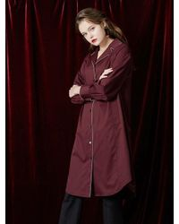 W Concept   Red Color Point Shirt Dress   Lyst