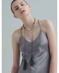 VIOLLINA - Multicolor Another V Fox Leather Tassel Necklace - Lyst