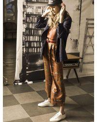 OUAHSOMMET - Brown Silk Travel Pants_bg - Lyst