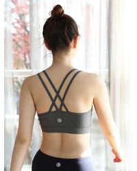 W Concept - Gray Double-cross Sports Bra-dark Grey - Lyst