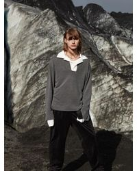 W Concept - Gray Oversized Collared Rugby Shirt _ Charcoal - Lyst