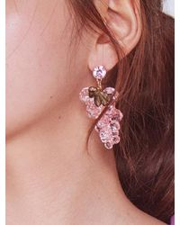 BABY CENTAUR - Baby Crystal Grape Earring Pink - Lyst