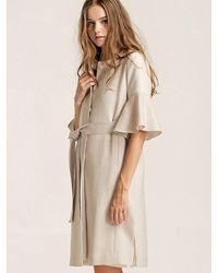 W Concept - White [wxo] Trumpet Sleeves Stitched Trench - Lyst