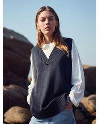 YAN13 Blue Unbalance Knit Vest_navy
