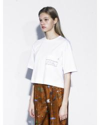 OUAHSOMMET - White Stitch Cropped Top_wh - Lyst