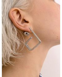 VIOLLINA - Metallic Hanguel Alphabet Single Earring-3 Silver - Lyst