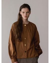 AEER Neck-shirring Button Cotton Blouse Brown
