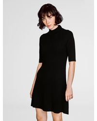 White + Warren - Black Cashmere Ribbed Swing Dress - Lyst