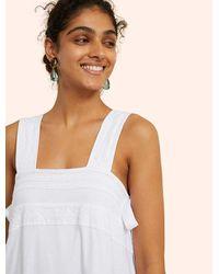 White Warren Kinly Compact Cotton Eyelet Trim Midi Dress