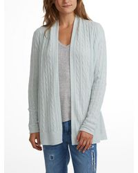 White + Warren - Blue Cashmere Cable Cardigan - Lyst