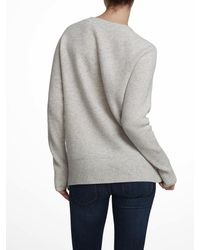 White + Warren - Gray Cashmere Crocheted Ring Crewneck - Lyst