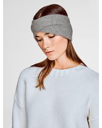White + Warren - Gray Cashmere Crossover Headband - Lyst
