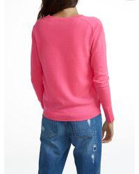 White + Warren | Pink Essential Cashmere V Neck Cardigan | Lyst