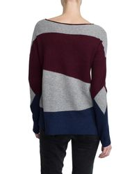 White + Warren - Purple Cashmere Intarsia Open Crewneck - Lyst