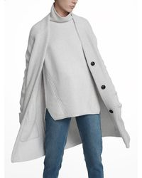 White + Warren - Gray Luxe Melange Patch Pocket Cardigan - Lyst