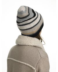 White + Warren - Gray Cashmere Striped Plush Rib Beanie - Lyst