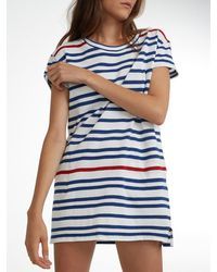 White + Warren - Blue Combed Cotton Tee Dress - Lyst