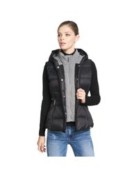 Wilsons Leather - Black Web Buster Performance Hooded Puffy Vest W/ Knit Inset - Lyst