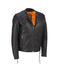 Wilsons Leather - Black Milwaukee Leather Performance Full Placket Leather Motorcycle Jacket W/ Quilted Shoulders for Men - Lyst