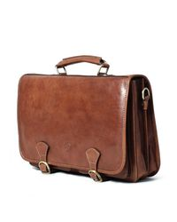 Maxwell Scott Bags - Brown Luxury Italian Leather Men's Satchel Briefcase Jesolo Classic Chestnut Tan for Men - Lyst
