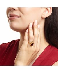 Ottoman Hands - Miniature Red Agate Square Triple Bead Cocktail Ring - Lyst
