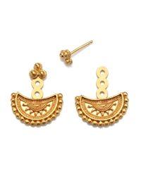 Satya Jewelry - Metallic Half Moon Gold Mandala Jacket Earrings - Lyst