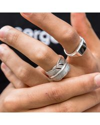 Serge Denimes - Metallic Silver Feather Ring for Men - Lyst