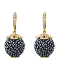 Latelita - Stingray Ball Drop Earring Gold Lapis Blue - Lyst