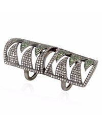 Meghna Jewels - Metallic Interlocking Claw Ring Diamonds & Tsavorite - Lyst