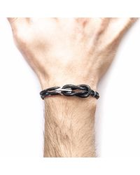 Anchor & Crew - Black Padstow Silver & Rope Bracelet for Men - Lyst