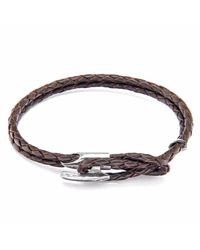 Anchor & Crew | Dark Brown Padstow Silver & Leather Bracelet for Men | Lyst