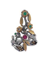 Emma Chapman Jewels   Metallic Flora Emerald Ruby & Diamond Ring   Lyst