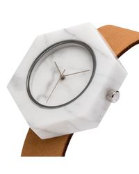 Analog Watch Co. | Multicolor White Marble Hexagon With Tan Leather Strap | Lyst