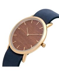 Analog Watch Co. - Multicolor Makore Wood Classic Watch With Navy Leather Strap - Lyst
