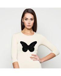 AGNĖ KUZMICKAITĖ - Nude Bodysuit With Black Velvet Embroidered Butterfly - Lyst