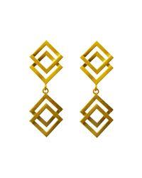 Helen Rankin - Metallic Double Geom Drop Earrings Gold - Lyst