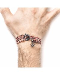 Anchor & Crew - Red Dash Clyde Silver & Rope Bracelet for Men - Lyst