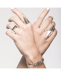 Delacruz - Metallic Double Wave Ring - Lyst