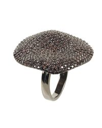 Latelita London - Black Alessandra Cocktail Ring Oxidised Chocolate Cz - Lyst