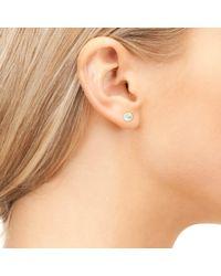 Latelita London - Metallic Petite Stud Earring Gold Aqua Chalcedony - Lyst