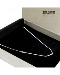 Brash Bijoux - Metallic Curved Square Bar Necklace - Lyst
