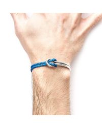 Anchor & Crew - Blue Noir Tay Silver & Rope Half Bangle for Men - Lyst