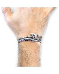 Anchor & Crew - Multicolor White Noir Union Anchor Silver & Rope Bracelet for Men - Lyst