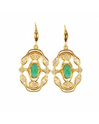 Neola - Metallic Norresa Gold Earrings With Chrysoprase - Lyst