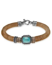 Platadepalo - Brown Classic Leather Bracelet With Chalcedony - Lyst
