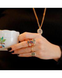 Sadekar Jewellery - Multicolor Shuttle Ring In Garnet - Lyst