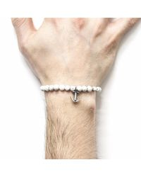 Anchor & Crew - White Noir Clyde Silver & Rope Bracelet for Men - Lyst
