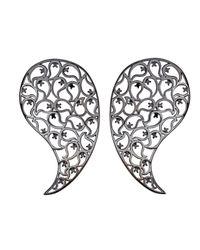Sonal Bhaskaran | Black Jaali Ruthenium Earrings With Spinel | Lyst